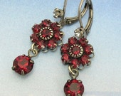 30% OFF RED Crystal Earrings Swarovski Crystal Dangle  with Rhinestone