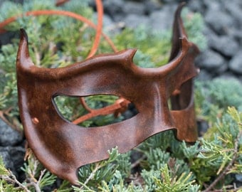 Brown Horned Leather Mask