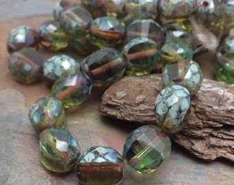 Table Cut Faceted Czech Glass Rounds in Sparkling Olive