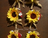 Rustic Sunflower Boutonnieres with Burlap Bow, Mens Buttonhole Flower, Groomsmen Lapel Bloom, Fall Wedding, FFT original, Made to Order