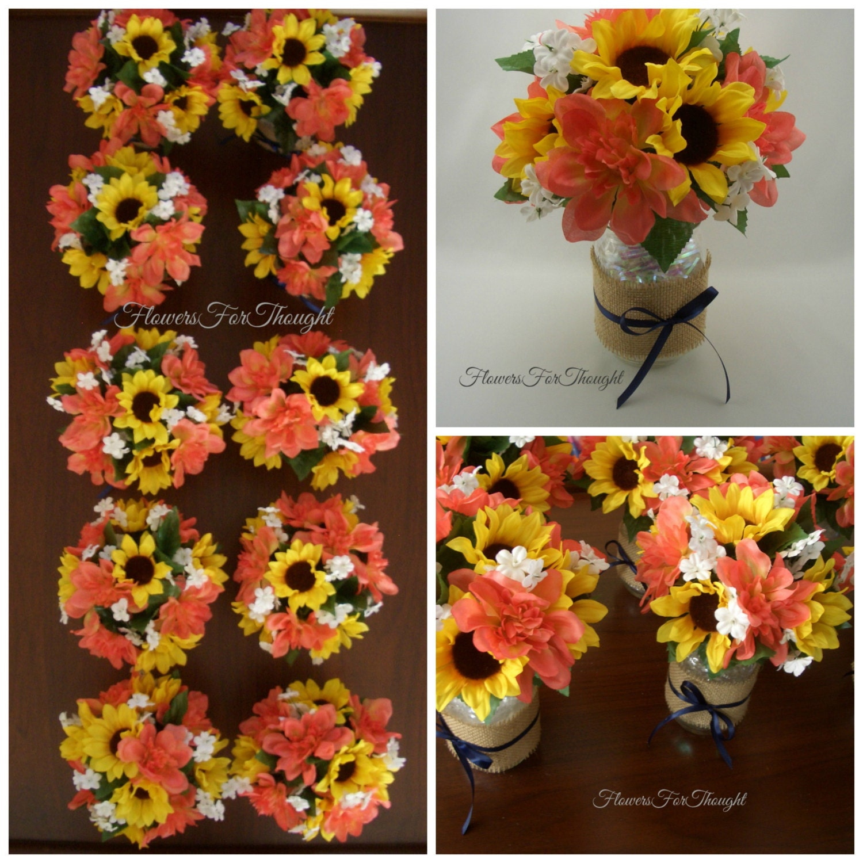 Wedding Bouquets Without Flowers: Sunflower Wedding Table Arrangement In Burlap Mason Jar