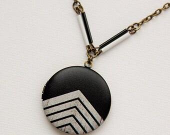 SALE Black and White Chevron Locket Necklace