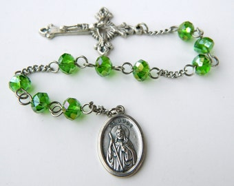 Green St. Jude Chaplet Rosary - Patron of Impossible Causes and Despeate Cases