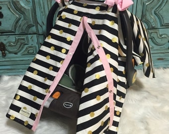 Carseat Canopy Carseat Cover Black Gold and Light Pink STUNNING / car seat canopy / carseat cover / carseat canopy / nursing cover