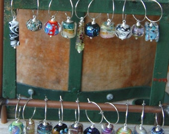 Lampwork Glass Wine Glass Charms by Various Glass Artists (20) - Sterling Silver