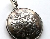 Japanese Coin Pendant Cherry Blossom Flower Vintage Necklace Japanese Jewelry Unique Charm Finding Gift for Mom Gift for Her