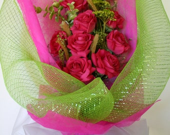 Real Touch Bouquet of Fusha Roses