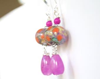Pink Teardrop Earrings, Lampwork Glass Earrings, Glass Bead Earrings, Pink Earrings, Impressionist Earrings