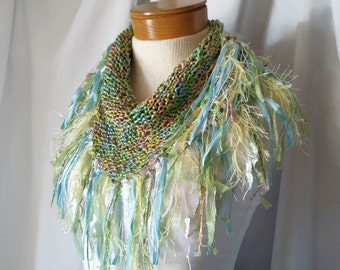 Pastel Knit triangle scarf  Spring colors Fringe shawl Cowl neck Summer festival bib wrap Blue lime yellow accessory Bandana boa Teen girl