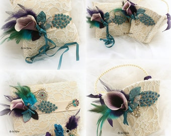 Wedding Ring Pillow, Flower Girl Basket, Guest Book, Peacock, Champagne,Teal, Turquoise,Purple, Gold,Vintage Wedding, Lace ,Pearls, Crystals
