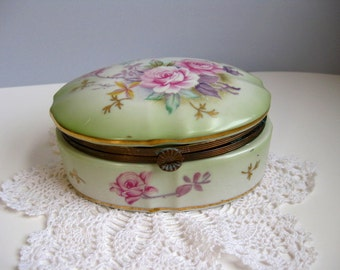 Vintage Lefton trinket box Porcelain trinket box
