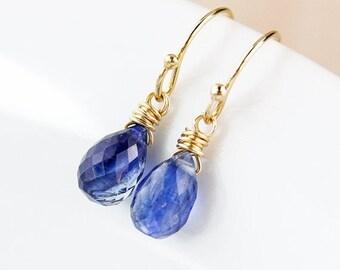 25% OFF Blue Kyanite Teardrop Earrings - 925 Sterling Silver or 14K Gold Fill