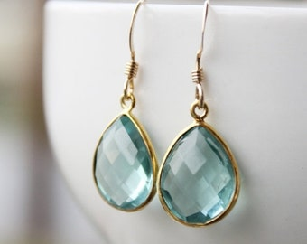 LABOR DAY SALE Simple Teal Blue Quartz Teardrop Earrings - Gold Filled - Aqua Blue, Something Blue