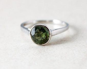 Silver Dark Green Tourmaline Ring - Rose Cut - October Birthstone
