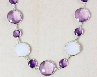 40 OFF SALE Pink and Purple Amethyst Bib Necklace – White Opalite – 925 Sterling Silver