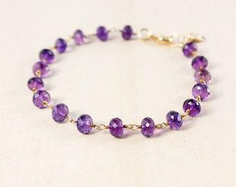 Purple Amethyst Quartz Bracelet – Initial Charm Bracelet