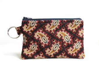 Blue, Red and Tan Paisley Zippered Bag / Coin Purse / Id Case / Gadget Pouch with Split Ring - READY TO SHIP