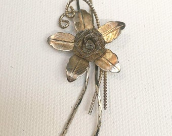 VINTAGE mid century mesh flower Y lariat  necklace
