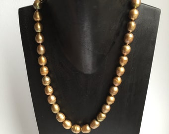 CLEARANCE SALE - Golden Brown Knotted Pearl Necklace    (No. 3)
