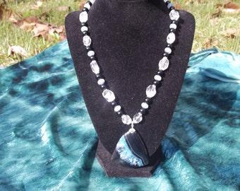Elegant black and aqua crystal
