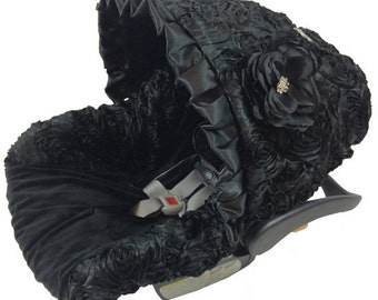 Ritzy Baby Baby Black Roses Infant Car Seat Cover, Includes Matching Strap Set