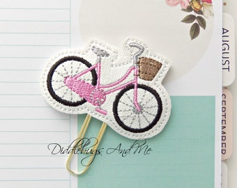 Bicycle Planner Clip, Pink Bicycle Paper Clip, Vinyl Paper Clip, Accessory For Planner, Bicycle With Basket Planner Clip, Vinyl Planner Clip