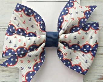 Anchor Pinwheel Bow, Girls Red and Blue Anchor Hair Bow, Hair Bow, Beach Hair Bow, Girl's Hair Bow, Pinwheel Hair Bow, Nautical Hair Bow