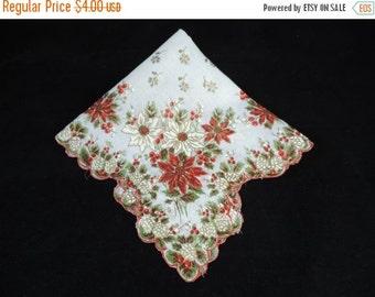 ON SALE 50s christmas handkerchief poinsettia + holly scalloped cotton hankie