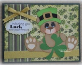 St. Patrick's Card Bear Handmade Paper Piecing 3D Greeting Card