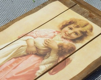 Antique Picture of Girl Holding Her Doll on Large Rustic 3 Panels on Wood WallHanging