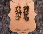 Dainty Leaf Crystal Earrings- Vintage Brass Bronze- Copper Topaz Green Brown- Boho Bohemian Gypsy- Hippie