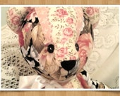 Jointed Patchwork Teddy Bear - Chintz Roses, Black & Coral Pink Blush Floral Prints - FREE SHIPPING