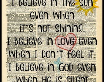 Buy Any 2 Prints Get 1 Free I Believe In The Sun Random Quote  Vintage Dictionary Art