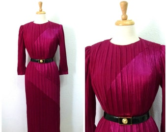 Vintage 1980s Dress by Morton Myles for Warrens Magenta Silk Party Evening Cocktail Gown