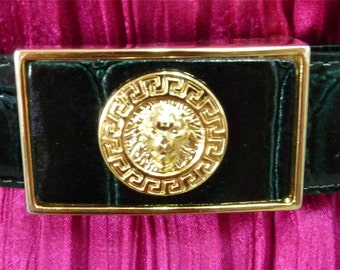 Vintage Lion Head Versace inspired Black Genuine Leather Unisex Belt Gold Tone Buckle