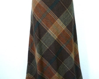 Vintage 80s Plaid Wool skirt Ralph Lauren Brown Beige Leather Straps Buckles Size 8 S to M