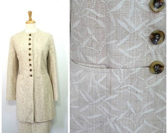 Vintage 90s Jacket and Skirt Suit Set Neutral Beige Harve Benard By Benard Holtzman Women size 16 L/XL