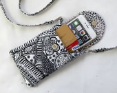 Iphone 6 Plus Case Smart Phone Gadget Case Quilted Fabric Detachable Neck Strap Abstract Print Black White