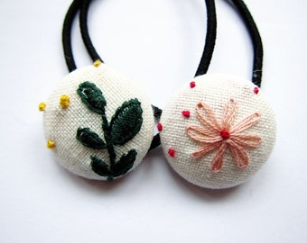Hand Embroidered Button Ponytail Holders - Floral - Button Hair Ties