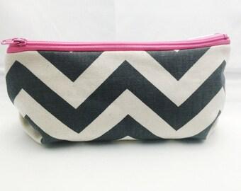Chevron Makeup Bag/Make up Bag/Zippered Bag/Zipper Bag/Flat bottom Zipper bag/Flat Bottom Makeup Bag/Zipper Clutch/Bridesmaid Bag/Pencil