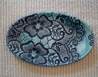 Turquise, ceramic, textured, oval, platter