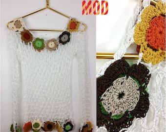 Boho Beautiful 90s White Crochet Top with Yellow, Green, Orange, Brown, Red, Cream, Gray Knit Flowers!