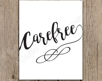"""Wall Art Printable """"Carefree"""" 8x10 Print Instant Download"""