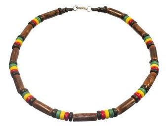 Rasta Surfer Necklace - Dark Wood Tube and Rasta Colored Coco Beads Necklace 16 and 18 inches