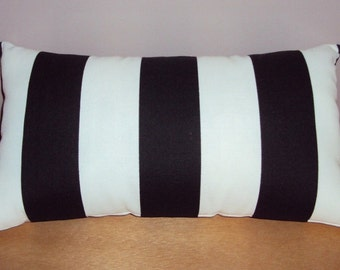 FREE SHIPPING 15x8 Outdoor Black and White Stripe Lumbar Pillow