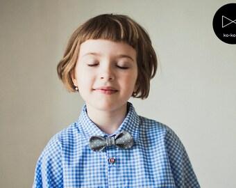 Bow Tie for Girls (grey polka dot)