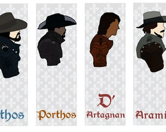 INSTANT DOWNLOAD - The Musketeers Bookmarks   Alexandre Dumas   Digital Download   Printable   Athos Porthos Aramis d'Artagnan   Reading