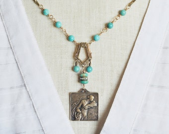 Mother Child Pendant, Mother Child Necklace, Antique French Medal Albert Carlens, Upcycled Turquoise December Birthstone Assemblage Necklace