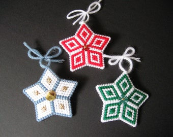 Plastic Canvas Needlepoint Star Ornaments - Blue/White and Green/White Available