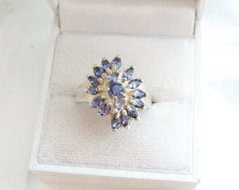 Estate Sterling Silver 925 Genuine Tanzanite Marquise Cut Cluster Ring Size 8